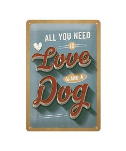 Love and dog - metalen bord