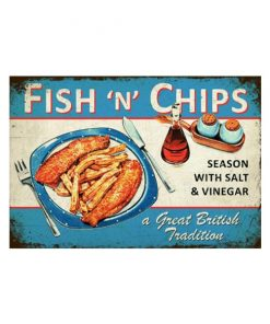 British tradition, fish n chips - metalen bord