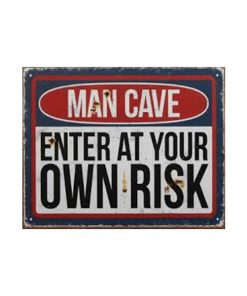 Man cave enter at your own risk wand - metalen bord