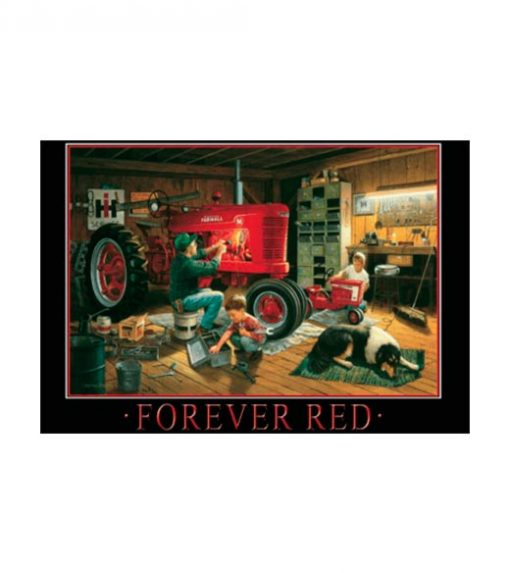 Tractor forever red - metalen bord