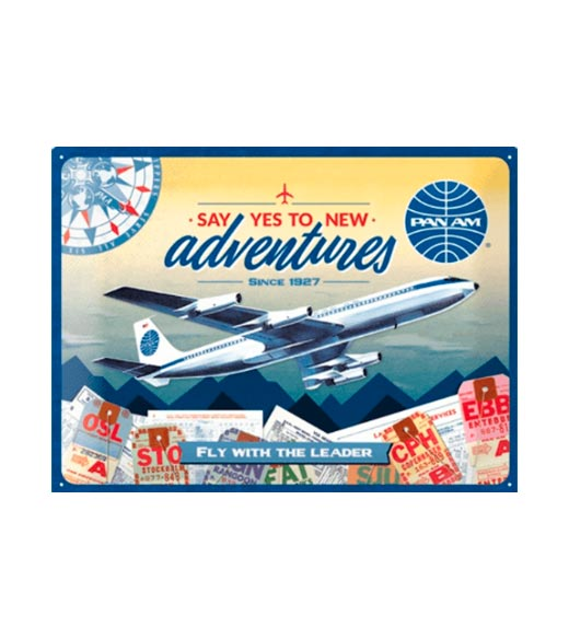 Travel the world, Say yes to new adventures - metalen bord
