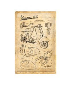 Vespa blueprint - metalen bord
