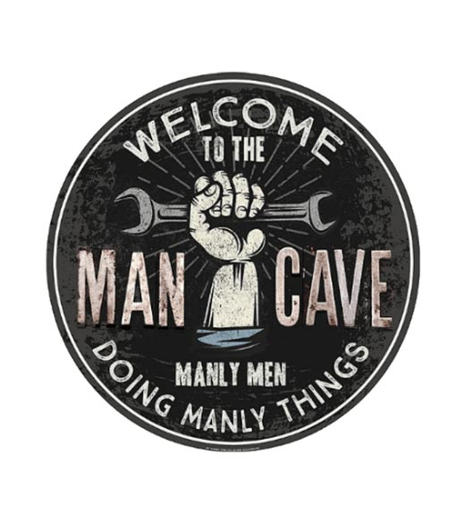 Welcome to the Mancave - metalen bord
