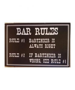 Bar Rules - metalen bord