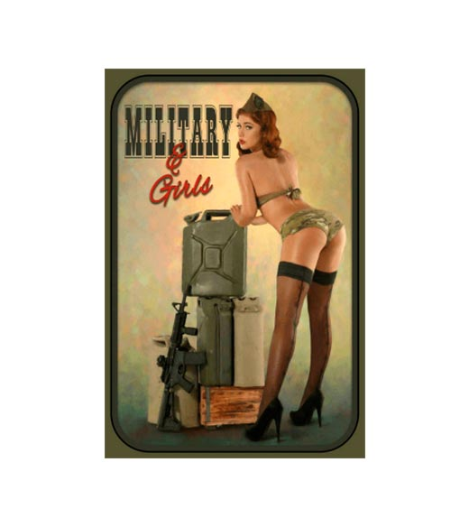 Military and girls - metalen bord