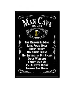 Rules in the mancave - metalen bord