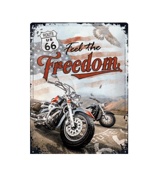 Feel the freedom route 66 - metalen bord