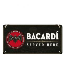 Bacardi is served here - metalen bord