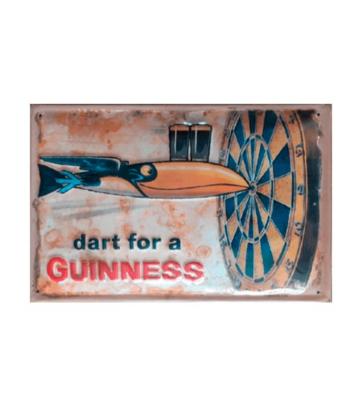 Guiness and darts - metalen bord