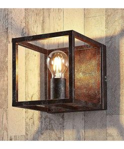 Lingred 1-lichts wandlamp industrieel roestbruin