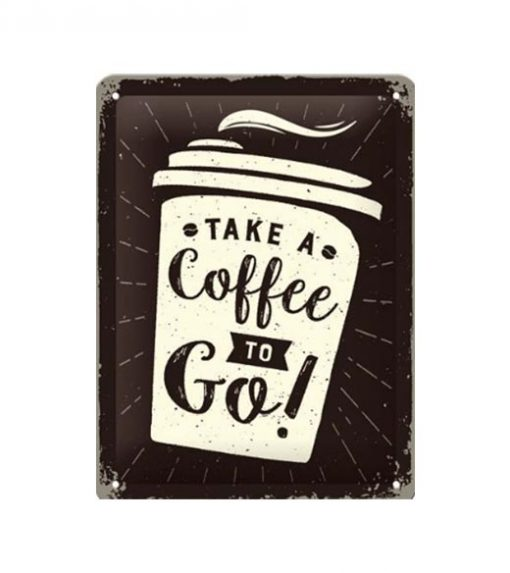 Take a coffee - metalen bord