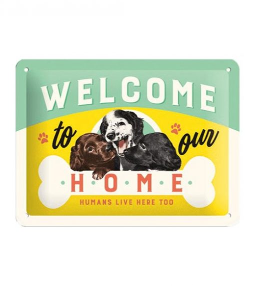 Welcome to our home - metalen bord