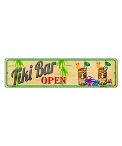 Tiki bar is open - metalen bord