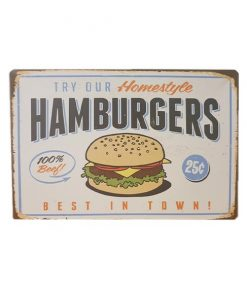 Try our hamburgers - metalen bord