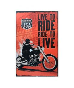 Ride to live - metalen bord