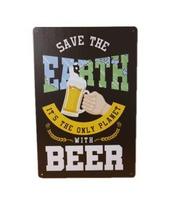 Only planet with beer - metalen bord