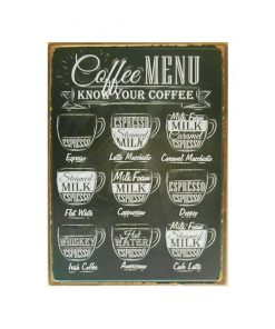 Coffee menu, know your coffee - metalen bord