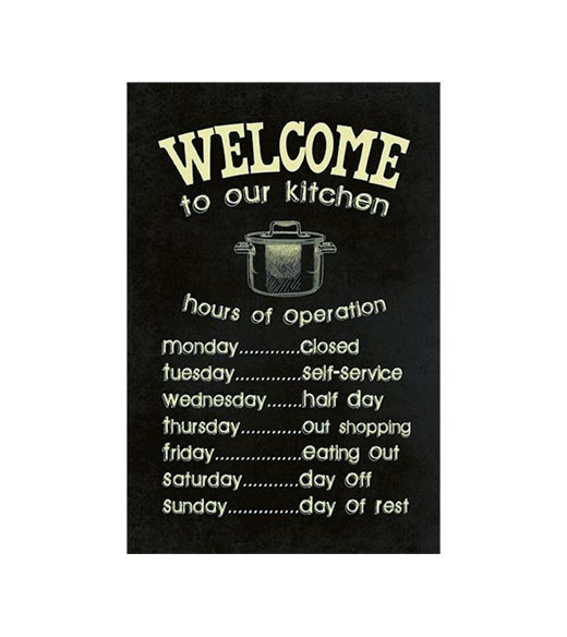 Welcome to our kitchen - metalen bord