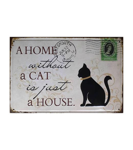Home without a cat - metalen bord